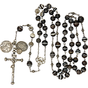French Victorian Silver and Banded Agates Rosary with Crucifix and Medals