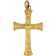 English 9K Gold Engraved Cross - ES&Co - 1945
