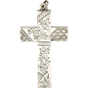 Victorian 1893 Sterling Silver Engraved Cross Pendant