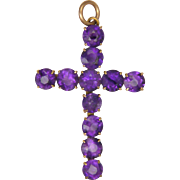 9k Rose Gold and Amethysts Cross Pendant