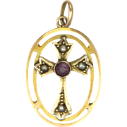 Victorian 9K Gold and Amethyst Cross Pendant