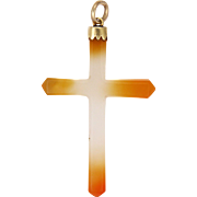 Victorian 9k Gold Capped Agate Cross