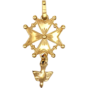 French 18K Gold Filled Saint Esprit Huguenot Cross Pendant - MURAT