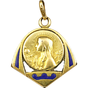 French Gold Filled and Enamel Virgin Mary Medal