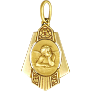 French Art Deco Gold Filled Cherub Medal or Charm - E Dropsy for ORIA