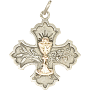 French Silver and 18K Gold Communion Cross Pendant Medal