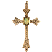 Victorian 9K Gold and Opal Engraved Cross