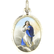 French Silver Enamel Assumption of Mary Medal or Charm
