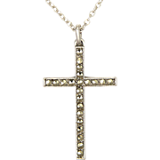 English Sterling Silver Marcasite Cross and Chain - TLM
