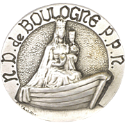French Our Lady of Boulogne Silver Pin signed G CHOBILLON