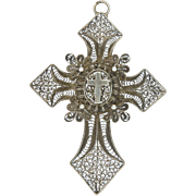 French 19C Silver Filigree Locket Back Cross Pendant