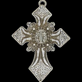 French 19C Silver Filigree Locket Back Cross Pendant