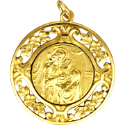 French Gold Plated Jesus and Mary Medal Pendant