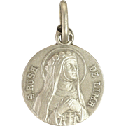 French Silver St Rose of Lima Medal Charm