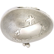 Antique Silver Egg Shaped Rosary Box - Possibly Russian
