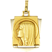 French Art Deco Gold Filled Virgin Mary Medal or Charm - FIX