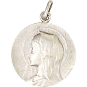 French Circa 1900 Silver Large Virgin Mary Medal - LASSERRE