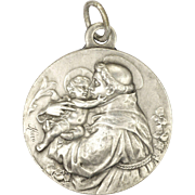 French Large St Anthony and Christ Child Silver Medal