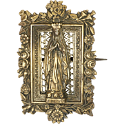 French 19C Rose Gold Plated 'Our Lady of Lourdes'  Pin