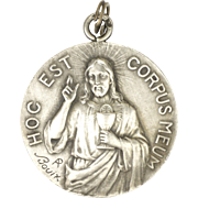 French Silver Jesus Communion Medal -BOUIX