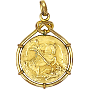 French St George and Dragon Gold Filled Medal Pendant -MURAT