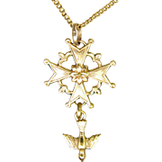 French 'FIX' Gold Filled Huguenot Cross and Chain