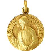 French 18k Gold Filled St Philip Medal or Charm
