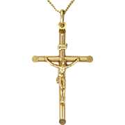 Italian 9k Gold Crucifix and Chain - British Import 1982