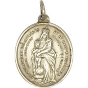 French Victorian Silver Virgin andChild/ Miraculous Medal