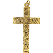 English 9K Gold Engraved Cross Pendant -HG and S - Chester 1938