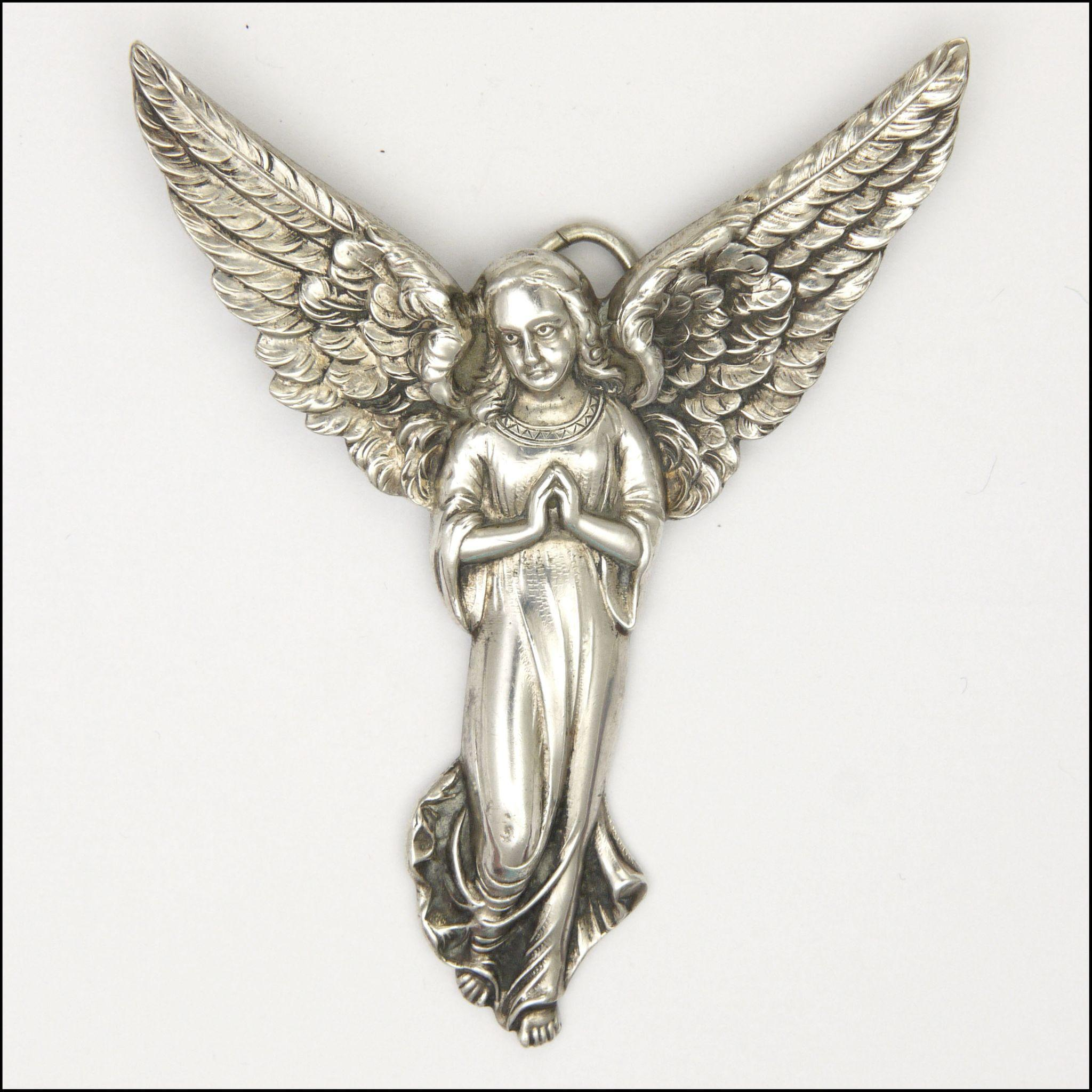 Victorian large silver angel pendant topazio portugal from roll over large image to magnify click large image to zoom aloadofball Image collections