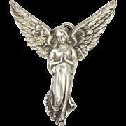 Victorian Large Silver Angel Pendant - TOPAZIO  -Portugal