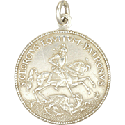 French Silver St. George and Dragon Medal Pendant