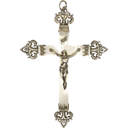 Large French Silver and Mother of Pearl Fleur de Lis Crucifix Pendant