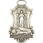 French Art Nouveau Our Lady at Lyons Silver Plated Medal