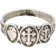 Victorian Sterling Silver Faith Hope and Charity Ring