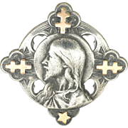 French 19C Silver Jesus and Gold Lorraine Crosses Pin