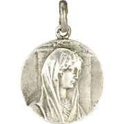 French Silver Virgin Mary Reims Cathedral Medal - E DROPSY