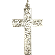 English Sterling Silver Engraved Cross Pendant