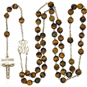 French Victorian Silver and Tiger's Eye Agate Rosary - Our Lady of Pontmain