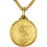French St. Michael and Dragon Pendant Necklace