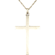 English Plain Sterling Silver Cross with Decorative Chain