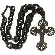 Victorian Vulcanite Collar and Cross