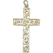English Antique Sterling Silver Engraved Cross Pendant