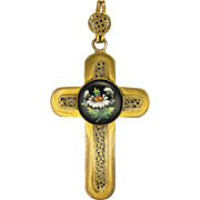 Victorian Gilt Metal Cross with Enamel Daisy Roundel