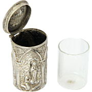 French Circa 1900 Silver Extreme Unction Pot - Our Lady of Lourdes