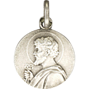 French Circa 1910 Silver St. Peter Medal or Charm