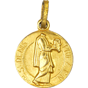 French St Denis Patron of Paris Gold Plated Medal - PENIN