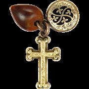 Victorian 9K Cross Enamel Locket and Agate Heart Charms