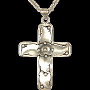 Danish Art Nouveau 830 Silver Cross - A Klokker with Sterling Chain